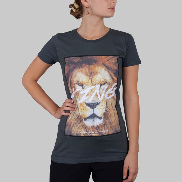 LION, Girls T-Shirt, dark grey