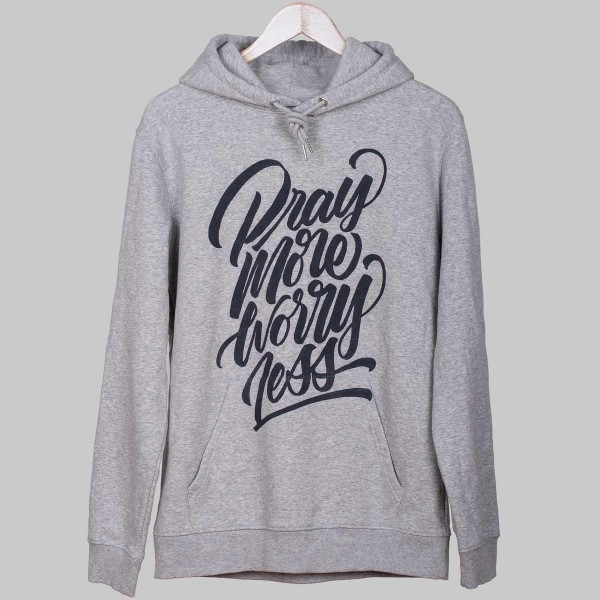 PRAY MORE WORRY LESS, Unisex Hoody, Heather Grey