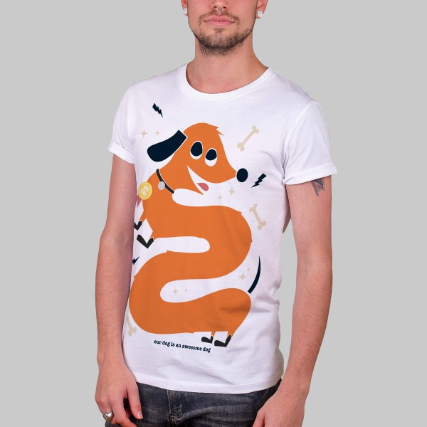 AWESOME DOG, Boys T-Shirt, weiß