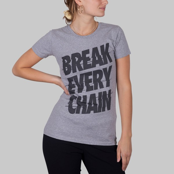 BREAK EVERY CHAIN, Girls T-Shirt, grau meliert