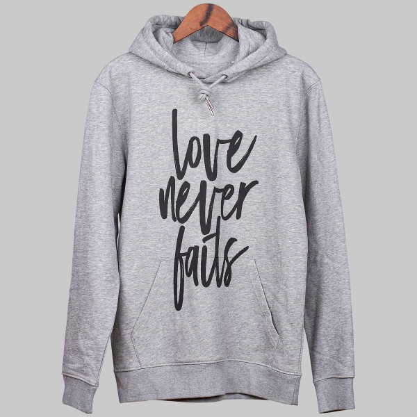 LOVE NEVER FAILS, Unisex Hoody, Heather Grey