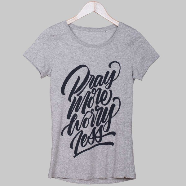 PRAY MORE WORRY LESS, Girls T-Shirt, Heather Grey