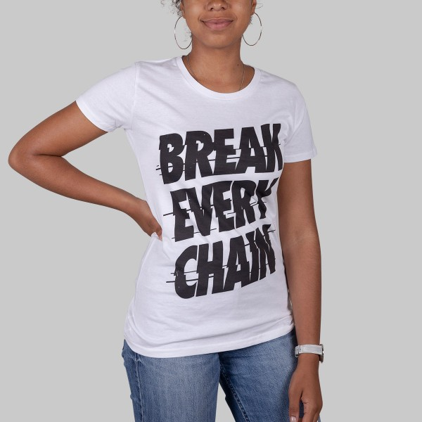 BREAK EVERY CHAIN, Girls T-Shirt, white