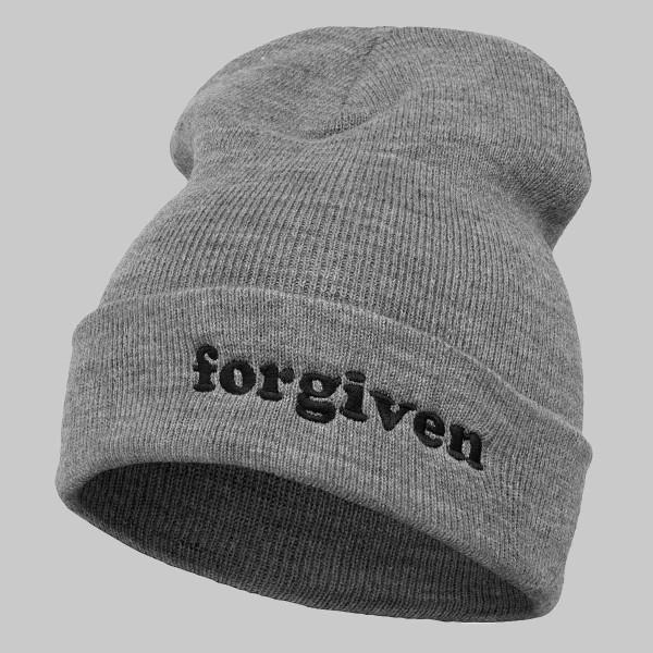 Forgiven, Unisex Long Beanie, grey