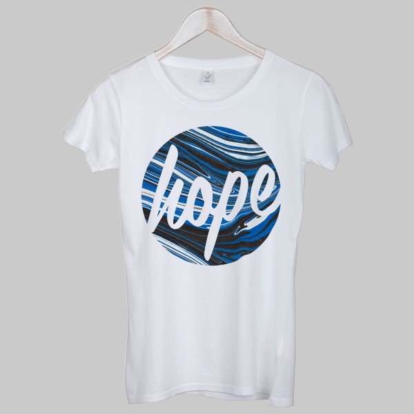 HOPE BLUE MARBLE, Girls T-Shirt, white