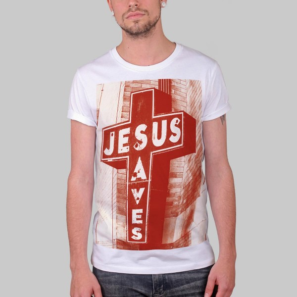 JESUS SAVES SIGN, Boys T-Shirt, white